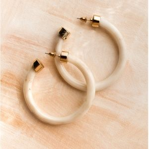 Ivory and Gold Hoops Earrings